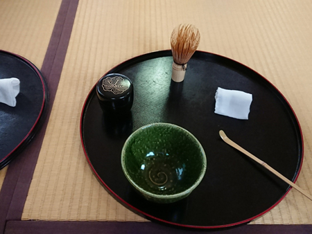Japanese tea and the procedure for making tea experience at the Former Seto Family House